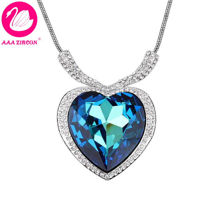 fd6f9835e Luxury Women's Dark Blue Heart Crystal Wedding Necklace Made With Swarovski  Elements, Come With A Necklace Box! (6259)-in Pendant Necklaces from Jewelry  ...