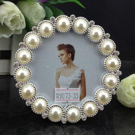 2pc lot european pearl frame round picture frame mini photo frame