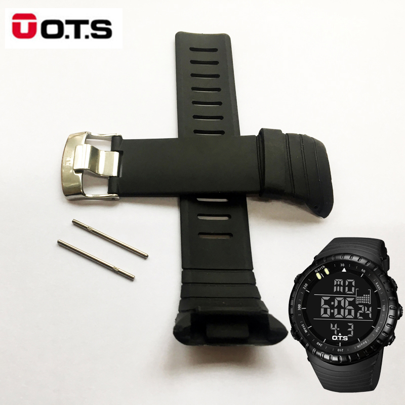 OTS 7005 Waterproof TPU Silicone Rubber Core Watch Spare Strap 210MM Length Band 24MM Width Repair Adjustable Replacement (1)