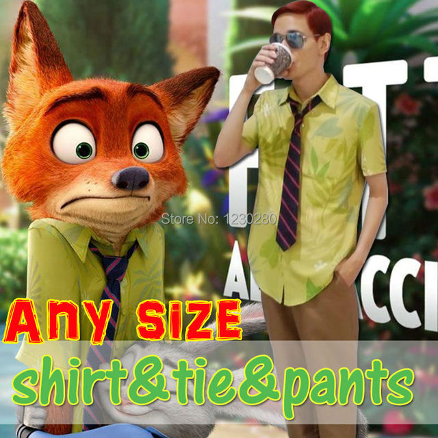 Free Shipping 2016 New Movie Zootopia Nick Wilde T shirt Cosplay ...