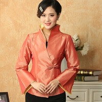 Autumn Winter Orange Women's Silk Jacket Chinese Formal Clothing One Button Tang Suit Solid Color Coat Size S To XXXL T032