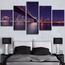 лучшая цена 5 Piece Canvas Art Nights In New York Cuadros Decoracion Paintings on Canvas Wall Art for Home Decorations Wall Decor Artwork