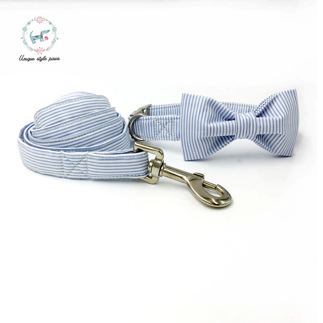 Blue striped Collar set with Leash and Bow Tie 4