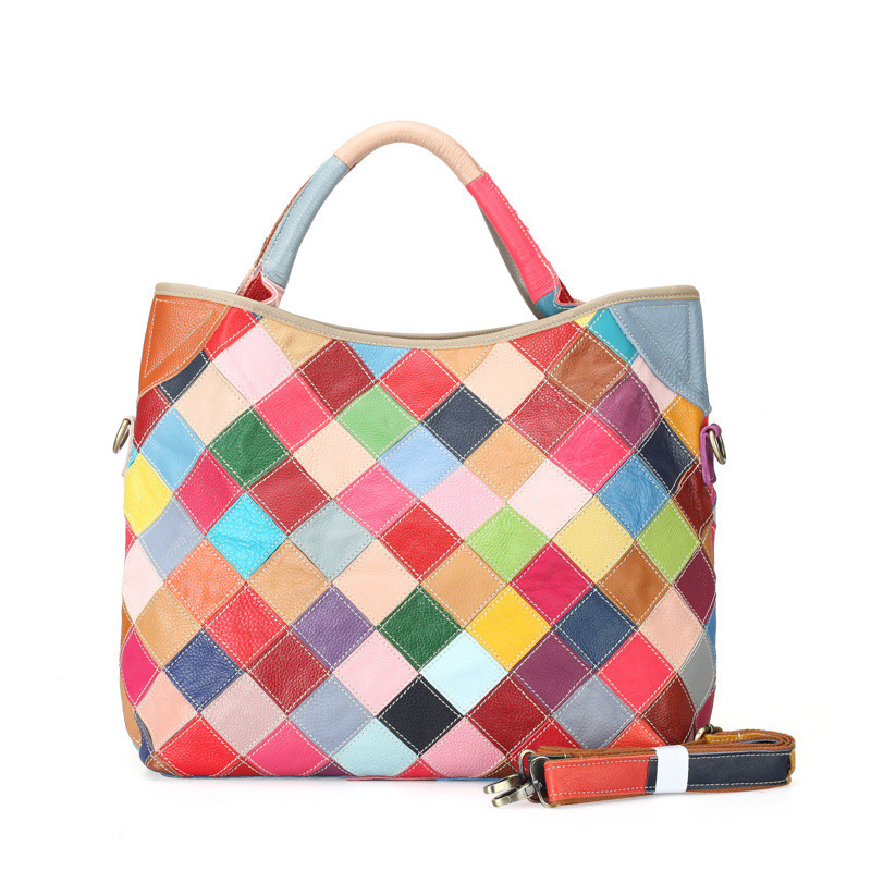 Famous Brand Genuine Leather Top-Handle Handbags Colorful Patchwork Cowhide Women Tote Shoulder Bag Lady Messenger Bags ZY03 monfer genuine leather slim straw tassel bag casual tote cowhide top handle bags handbags women famous brands shoulder