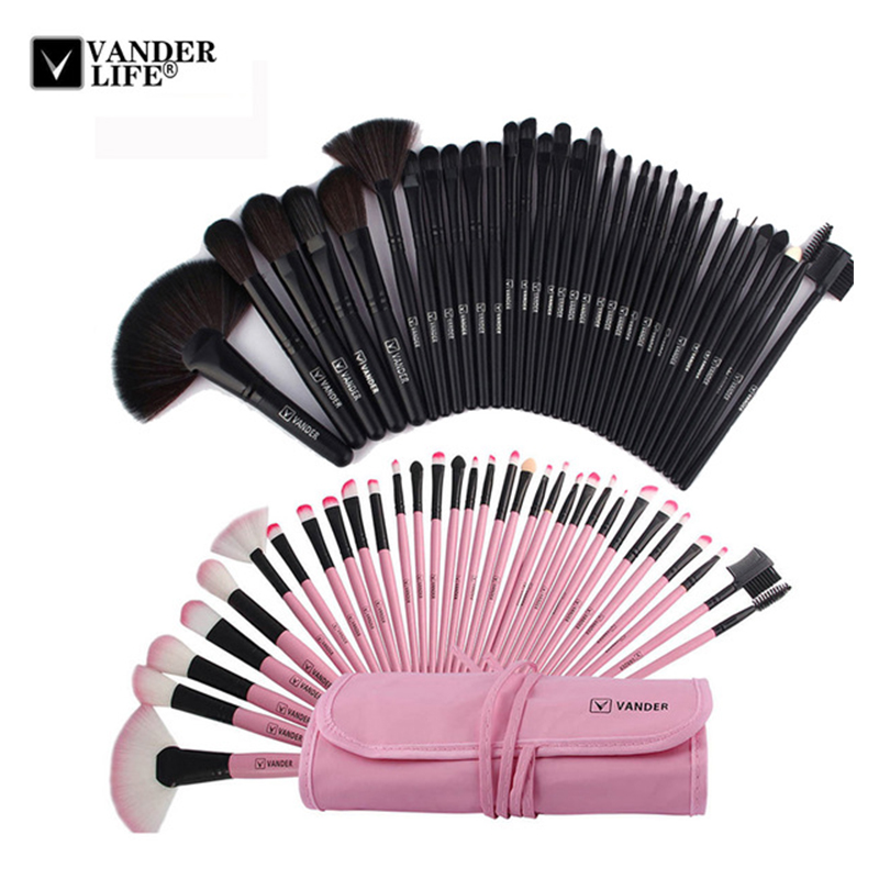 VANDER LIFE 32Pcs Makeup Brush Sets Professional Cosmetics Brushes Set Kit + Pouch Bag Case Woman Make Up Tools Pincel Maquiagem vander 32pcs set professional makeup brush foundation eye shadows lipsticks powder make up brushes tools w bag pincel maquiagem