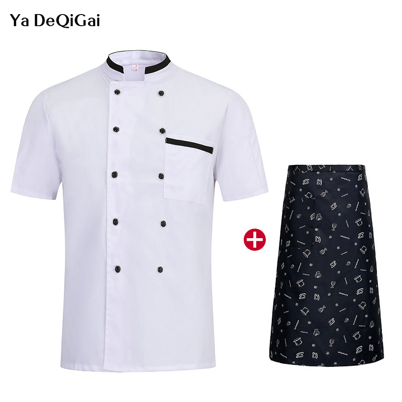 Unisex Restaurant Kitchen Uniforms Short Sleeve Double Breasted Chef Work Clothes Catering Breathable Jacket + Apron Chef Pant