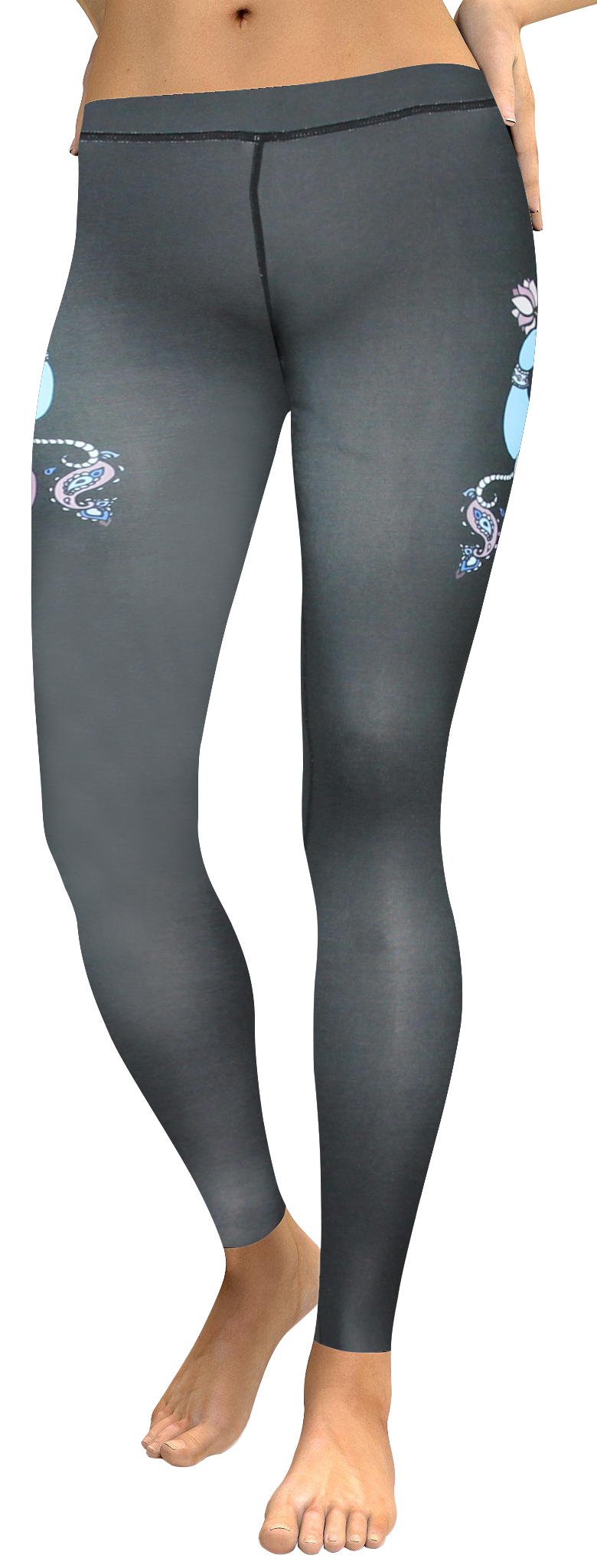 High waistband black ganesha legging (1)