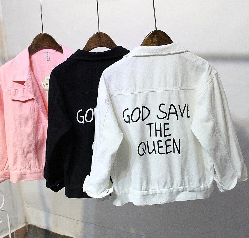 god save the queen denim jacket korean long sleeved all match loose spring bomber jacket in. Black Bedroom Furniture Sets. Home Design Ideas