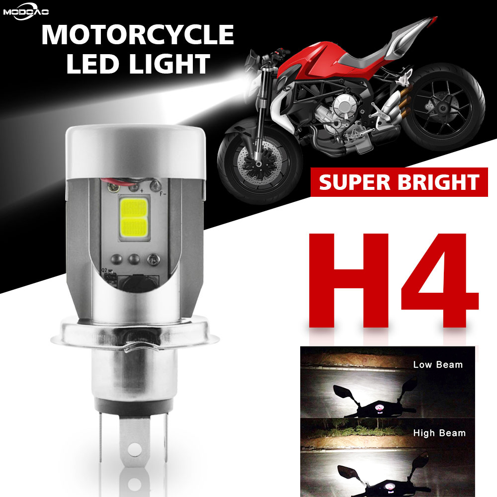 25W <font><b>H4</b></font> <font><b>LED</b></font> <font><b>Motorcycle</b></font> Headlight COB Hi / Lo Beam 2500LM Motorbike <font><b>Bulbs</b></font> Moto Front Light Stainless Steel White Head Lamp image