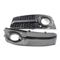 Glossy Black Front Fog Light Bumber Mesh Grilles Grill For Audi A4 B8 Base Sedan 4