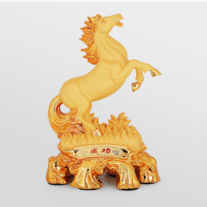 Golden horse arts and crafts family hotel decorations bring good luck office study gift free shipping