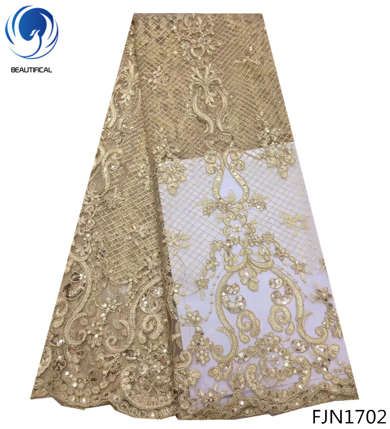 BEAUTIFICAL luxury africa lace fabric embroided fabric lace indian lace embroidery tulle fabric gold bright latest 5 yards FJN17
