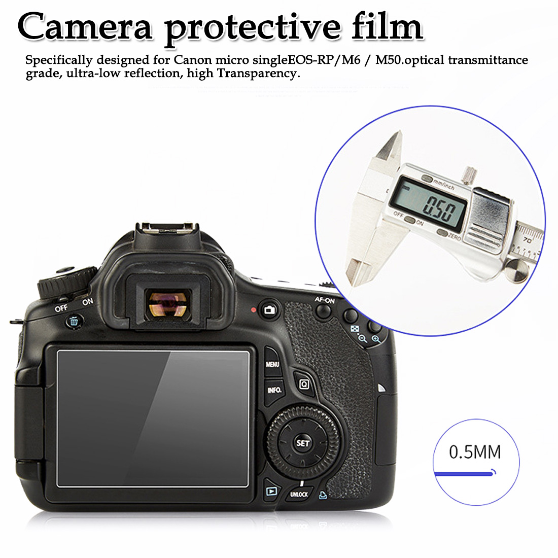 full screen anti-fingerprint screen stickers Applicable for  Canon micro single EOS-RP/M6/M50 camera tempered film(China)