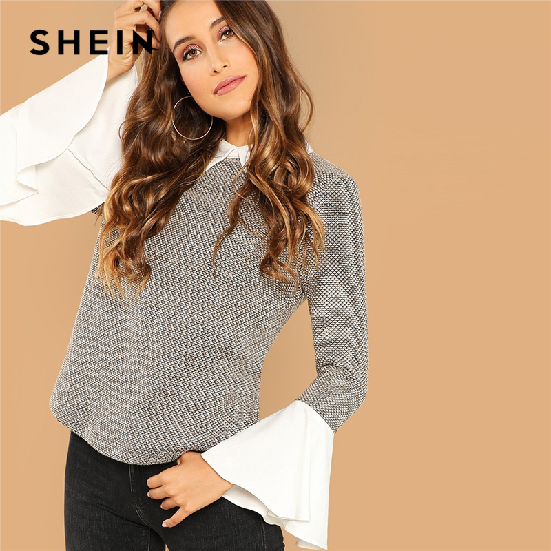 SHEIN Weekend Casual Multicolor Contrast Collar Flounce Sleeve Top Women Long Sleeve Autumn Elegant Minimalist Blouses
