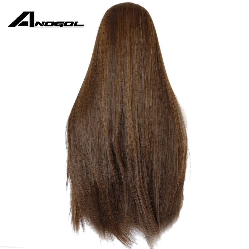 Image 3 - Anogol Dark Brown Lace Front Wig Natural Long Straight Glueless Synthetic High Temperature Heat Resistant Fiber Hair Women Wigs-in Synthetic None-Lace  Wigs from Hair Extensions & Wigs