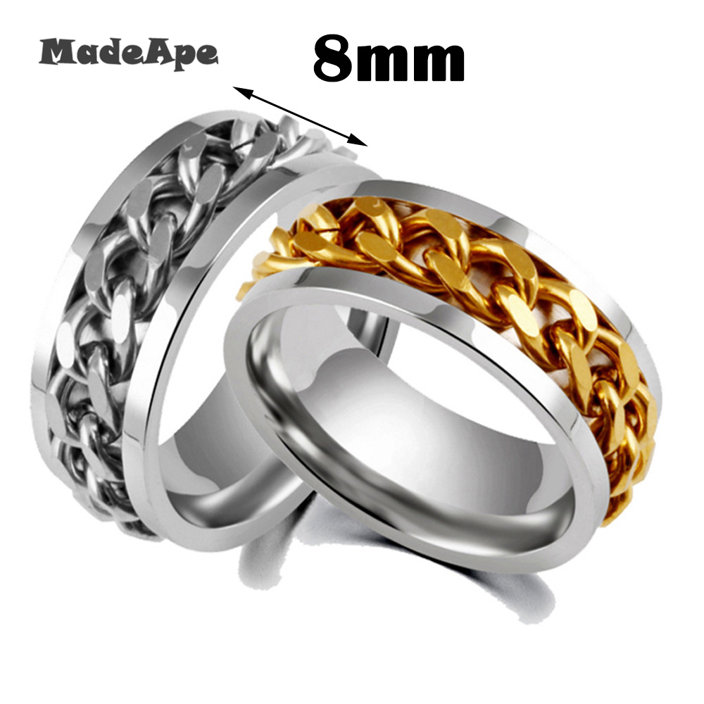MadApe Classic Rotable Punk Rock Men Ring Stainless Steel Gold Black Chain Spinner Rings For Women Jewelry