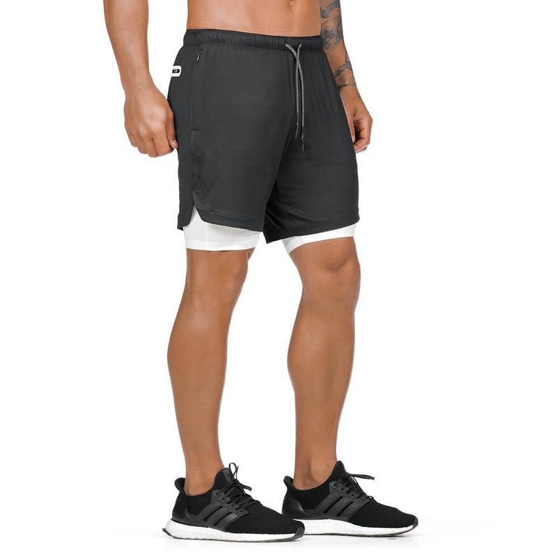 MJARTORIA Men's 2 In 1 Running Shorts Security Pockets Leisure Shorts Quick Drying Sport Shorts Built-in Pockets Zipper Pockets