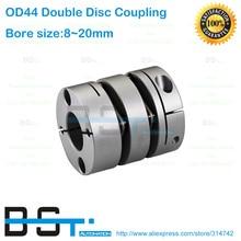 Двойная дисковая муфта Dia.44mm 8.7N.m 8 мм 10 мм 11 мм 12mm14mm 15 мм 16 мм 17 мм 18 мм 19 мм 20 мм Диаметр Размеры вала двигателя дисковый соединитель