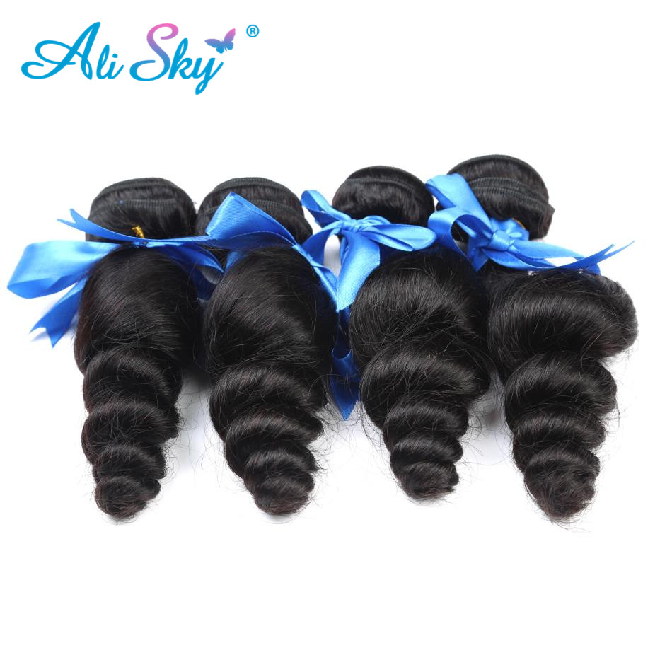 4 Bunldle Peruvian Loose Wave Hair Weave 100% Human Hair Bundles non Remy Hair Extension Bouncy Curl Black FreeShipping Ali Sky