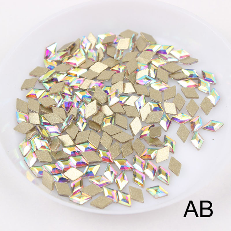 30/100 шт./лот ногтей Стразы 3x5 мм Flatback ромб с цветными камнями для 3D нейл-арта украшения - Цвет: Crystal AB