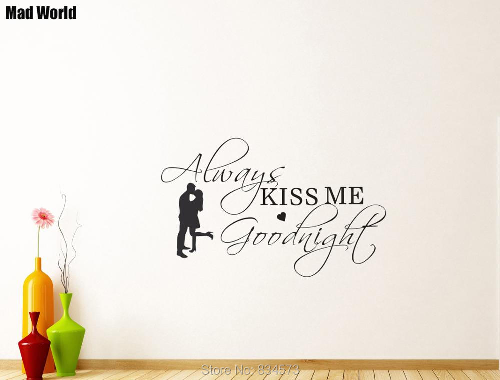 Husband and wife Always Kiss Me Goodnight Wall Art Stickers Wall Decal Home DIY Decorati ...