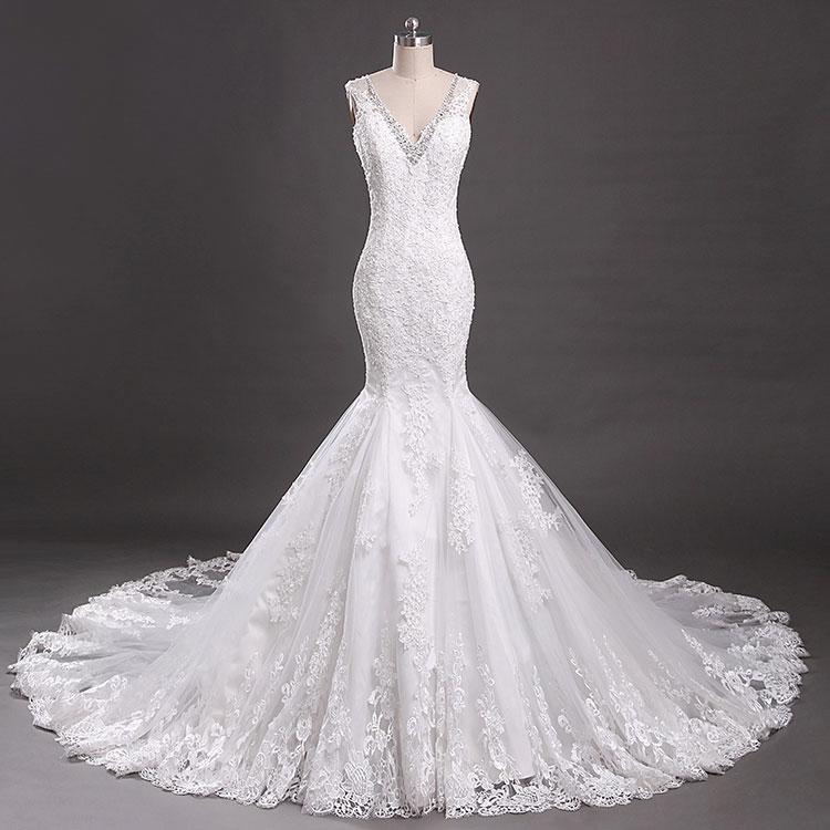 Elegantní krajka bez rukávů V-Backless mořská panna Svatební - Svatební šaty - Fotografie 3