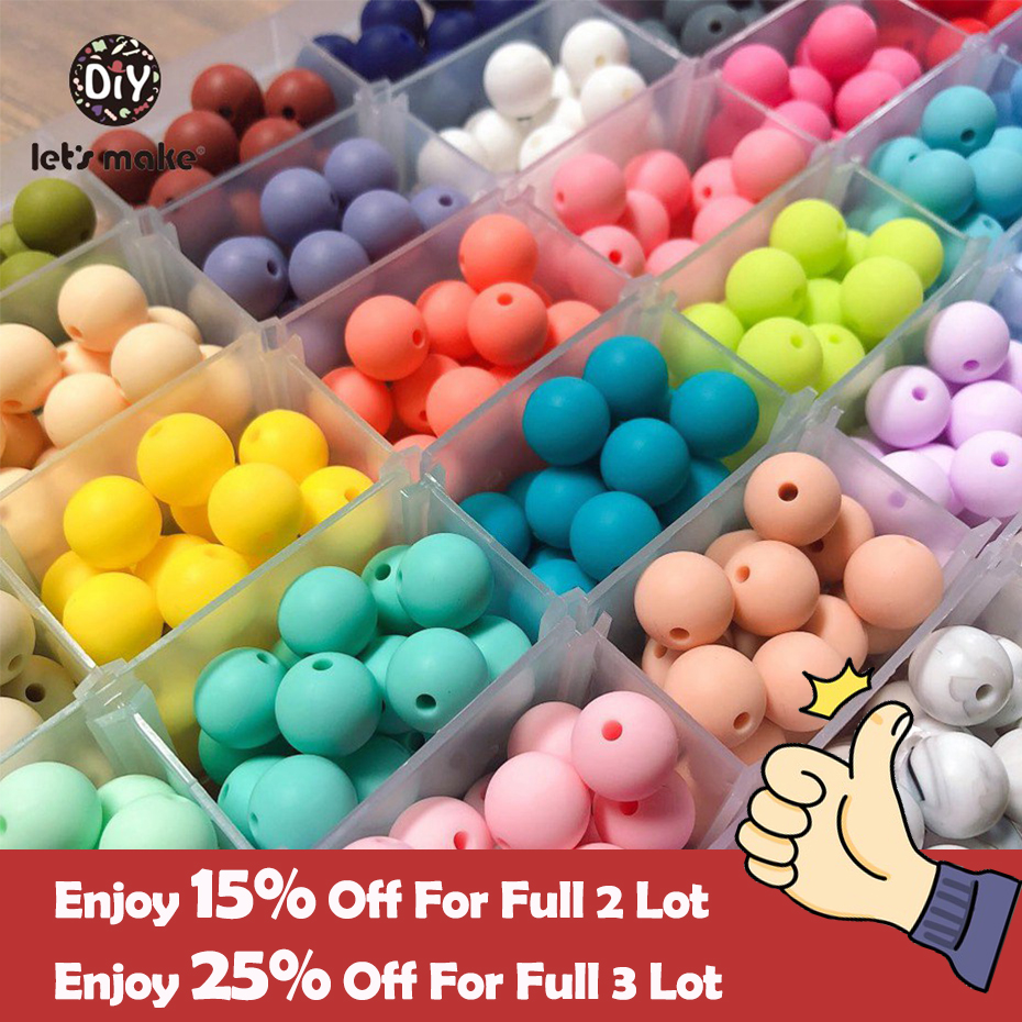 Silicone Beads 100pc 12-20mm Silicone Baby Teething Beads Food Grade Nursing Chewing Round Teether Silicone Beads Necklace LA1