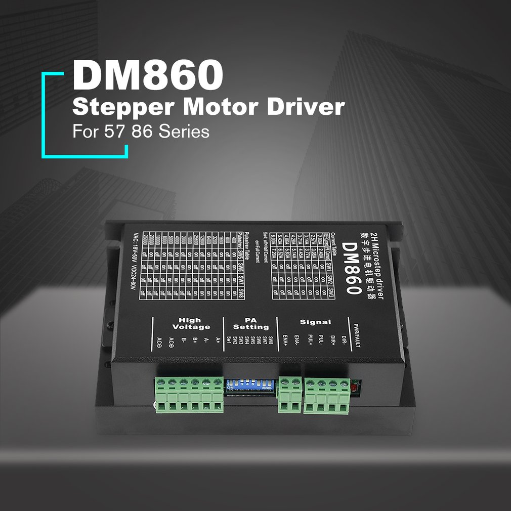 DM860 Stepper Motor Driver Controller For 57 86 Series Digital Stepper Motor Driver DC 24-80V 2.0A Hybrid Stepper MotorDM860 Stepper Motor Driver Controller For 57 86 Series Digital Stepper Motor Driver DC 24-80V 2.0A Hybrid Stepper Motor