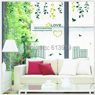 Free Express Shipping Removable Green Plants Wall Stickers Bedroom TV Background Home Decor Size 60*90cm - DIY Decoration Sky store