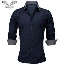 VISADA JAUNA 유럽 사이즈 신작 2018 남성 셔츠 남성 긴팔 셔츠 코튼 캐주얼 패치 워크 슬림 피트 오피스 셔츠
