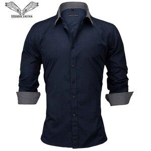 Image 1 - VISADA JAUNA Camiseta de manga larga para hombre, camisa masculina de manga larga con estampado de retales de algodón, informal, ajustada para oficina, talla europea, 2018