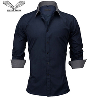 VISADA JAUNA European Size New 2018 Men's Shirt Men's Long sleeved Shirt Cotton Listed Casual Patchwork Slim Fitness N892