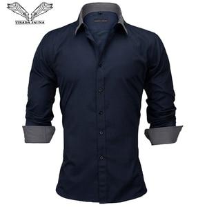 Image 1 - VISADA JAUNA europejski rozmiar nowy 2018 koszula męska męska koszula z długimi rękawami bawełna wymieniony patchworkowy w stylu Casual Slim Fit koszula biurowa