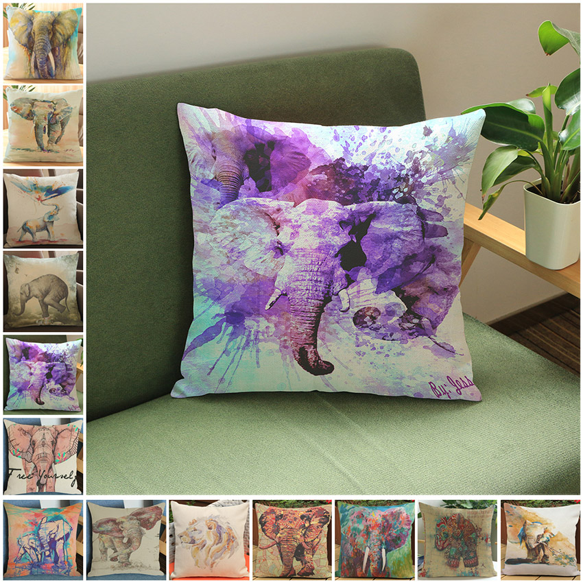 Oil Painting Elegant Sofa Cushion Pillow Cover Animal Protection Theme Pillow Case Cotton Linen Car Seat Chair Throw Pillows
