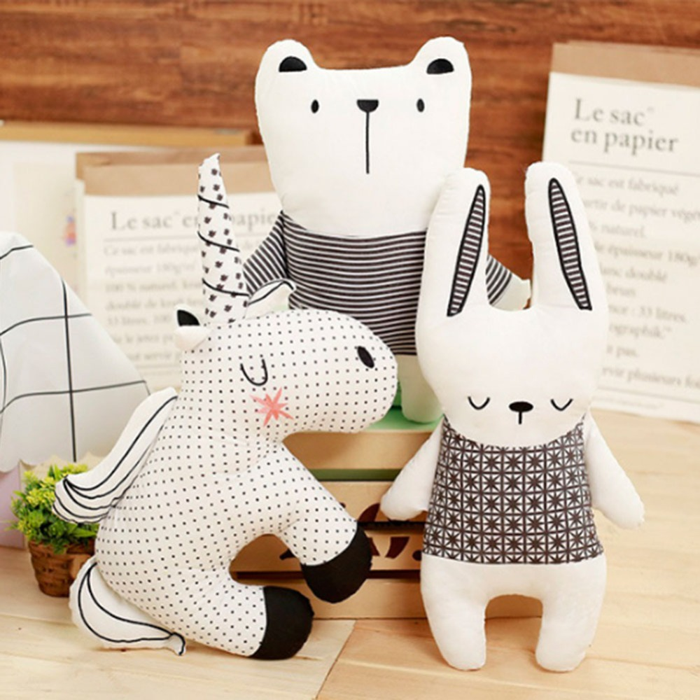 Nordic Style Rabbit Unicorn Bear Pillow Cushion Cotton Animal Plush Toys Children's Toys Baby Room Decoration Christmas Gift