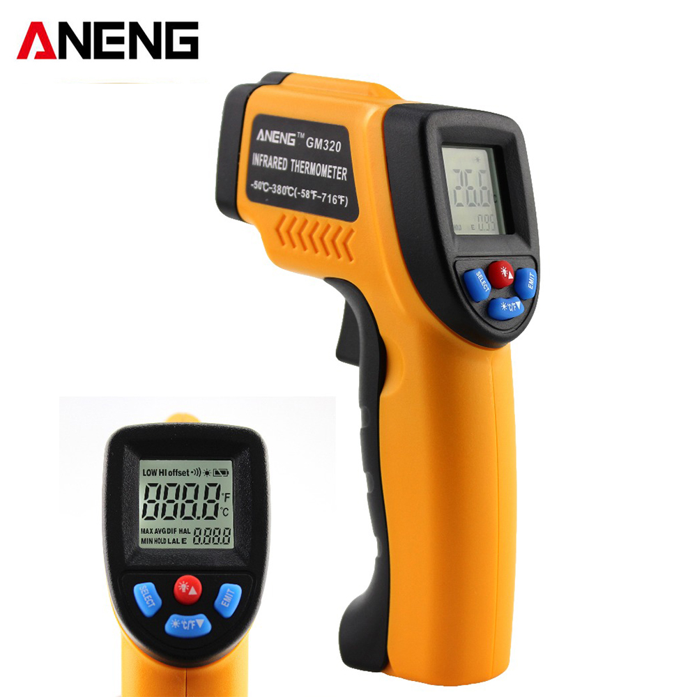 ANENG GM320 Non-contact LCD Digital Infrared Thermometer Industrial Liquid Crystal Instrument Temperature Measurement Tool