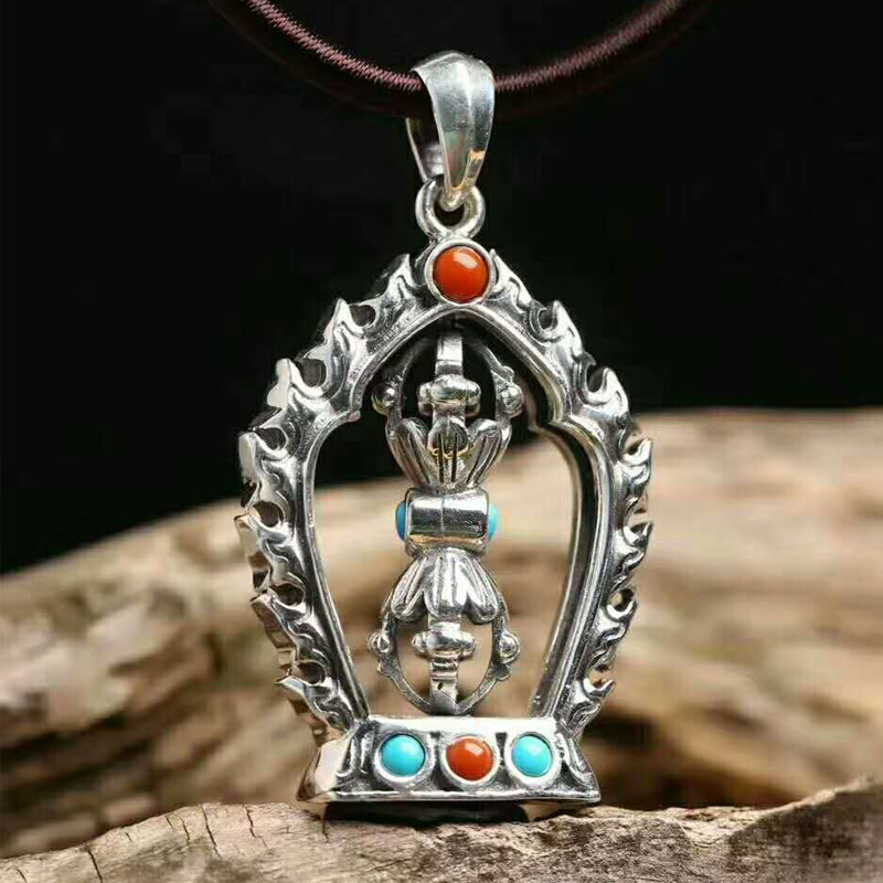 RADHORSE  Pendant 925 Sterling Silver  Fine Jewelry Turquoise Agate lotus Rotate Vajra Instrument S925 Silver Pendant  RADHORSE  Pendant 925 Sterling Silver  Fine Jewelry Turquoise Agate lotus Rotate Vajra Instrument S925 Silver Pendant