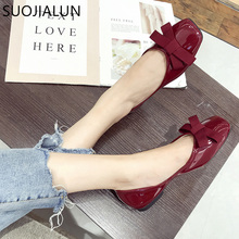 SUOJIALUN Women Shoes Spring Autumn Bowknot Flat Casual Round Toe New Zapatos Mujer Female