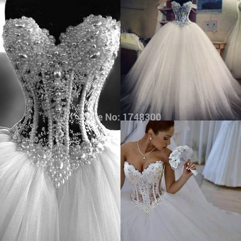 Euro new style corset bodice sheer wedding dresses pearls for Corset bra for wedding dress