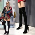 2015 new high heel boots knee side zipper with the leather boots super fine leg boots