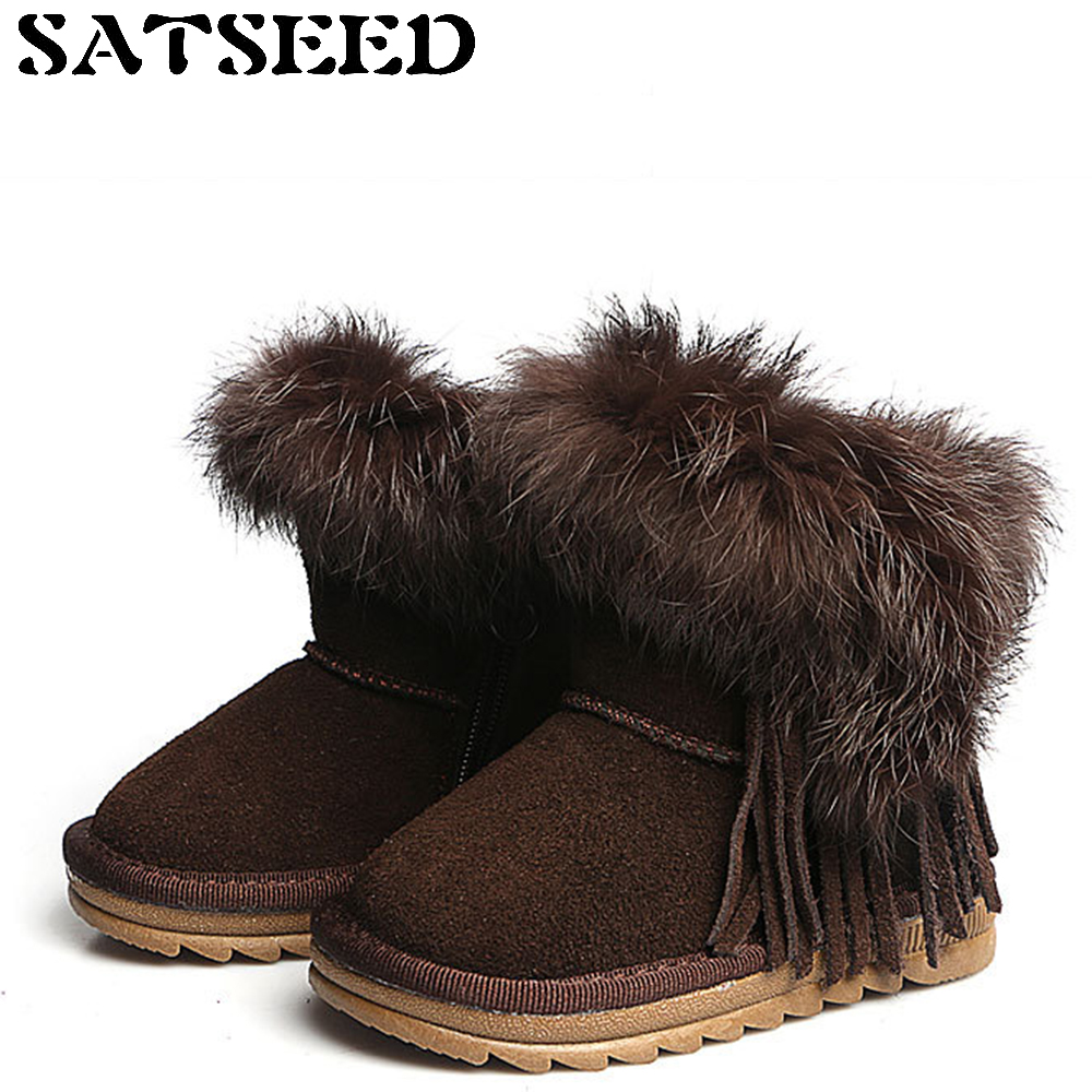 Snow Boots Fur Ankle Boots Womens Leather Winter Boots Fox Fur Children Flat Thickened Cotton Shoes Warm TPR No-slip US 3 Yard