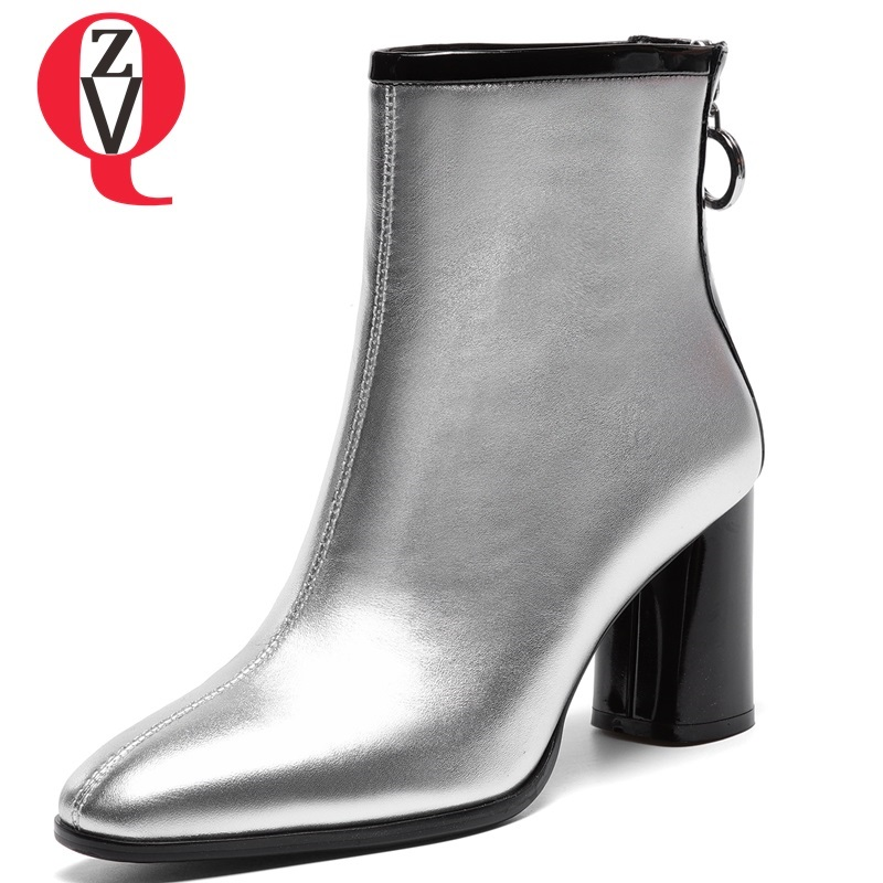 ZVQ 2018 winter hot sale new fashion square toe zipper high square heel genuine leather women ankle boots outside warm shoes zvq 2018 winter hot sale new fashion square toe zipper high square heel genuine leather women ankle boots outside warm shoes