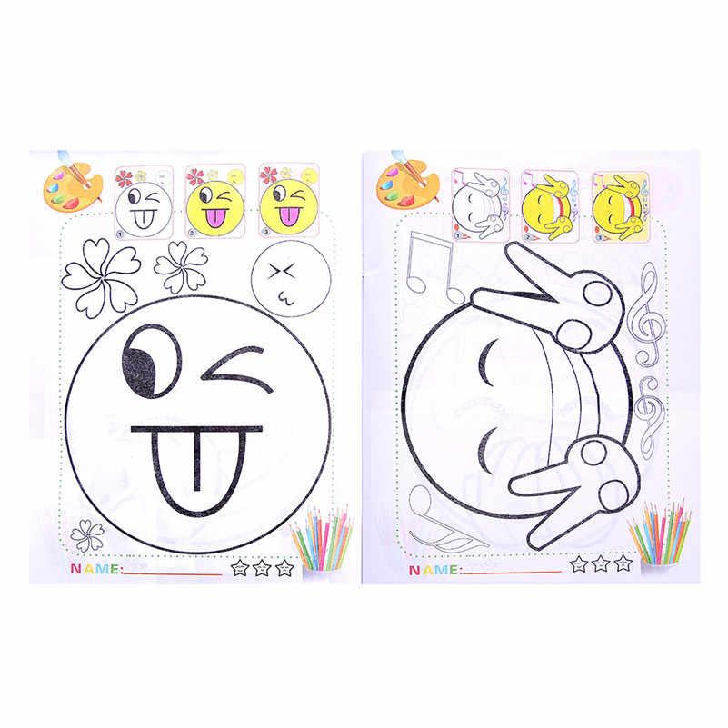 10 Páginas Emoticonos Jardín Dibujo De Los Niños De Diy Rompecabezas Para Colorear Libro Juguete Para Bebé Niña Niño Niños A1