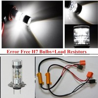 2Pcs HID White 100W H7 20CREE LED Projector Bulbs Fog Lights High Low Beam DRL Canbus