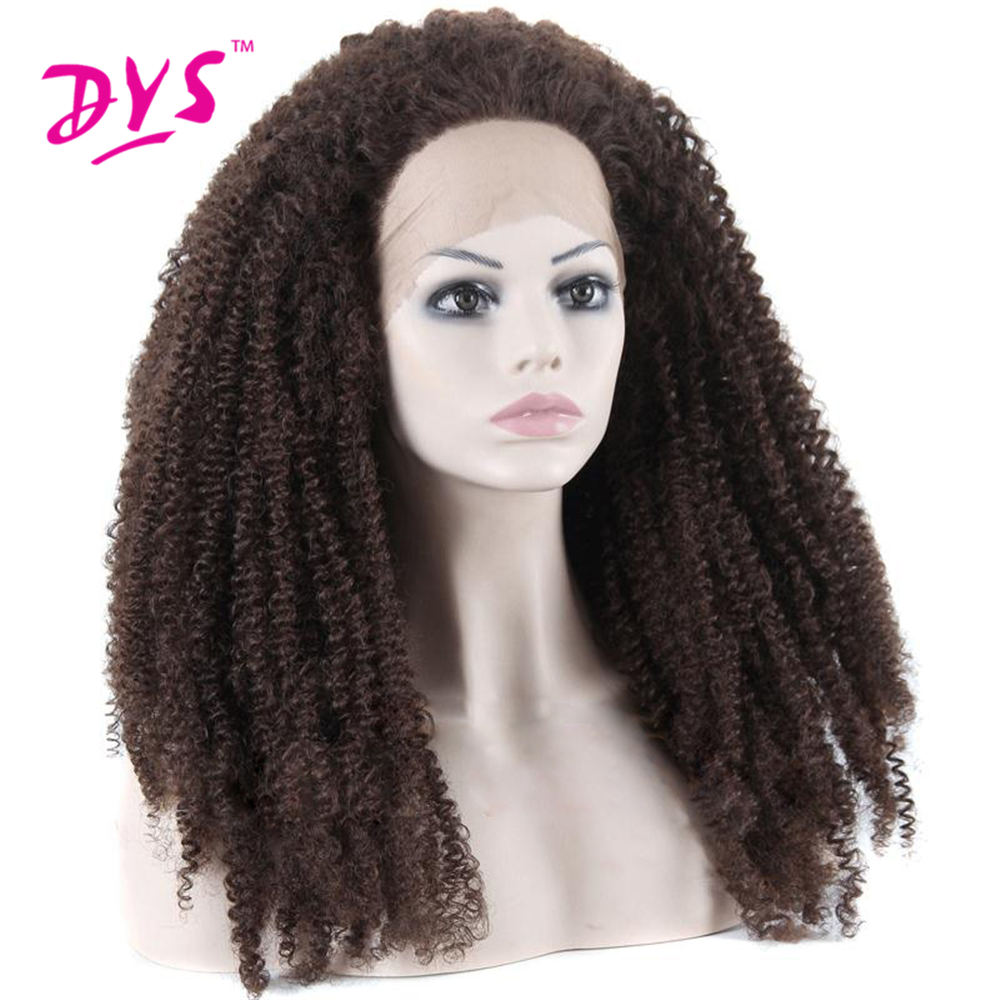 Deyngs Natural BrownBlack Afro Kinky Curly Synthetic Lace Front Wigs 180% Density Heat Resistant Synthetic Women's Wigs (3)