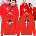 Terry for Spring Beijing Opera Harajuku Lovers Clothing Red Couples Matching Sweatshirts 100% Cotton Women Hoodies Jacket CTH20