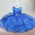 2017 Nuevo Verano Del Bebé Vestidos de Princesa Ropa de Los Niños Niñas Vestido de Gasa de encaje Vestido de Verano para Niñas azul