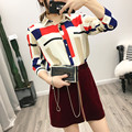 2017 Women Office Wear Color Block Geometric Print Chiffon Blouse Long Sleeve Elegant Shirts Plus Size Casual Slim Summer Tops