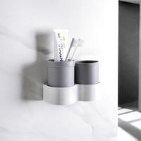 Soporte para cepillo de dientes  pasta dental colgante  taza para la boca  impermeable  estante para almacenaje de cocina  organizadores de baño|Soportes de cepillos y pasta de dientes| |  -