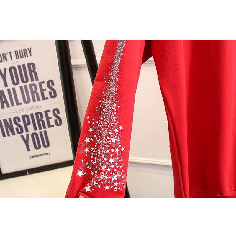 2019 Grande Taille Mode Printemps Sweat Nouvelle Augmentation de Femmes Moyen Long Bretelles Avec Flve branches Tops Dames shirts - 6